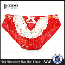 MGOO New Arrival Cute Women's See Through Underwear Mesh Lace Patchwork Lingerie Girl Bow Brief MBB010
