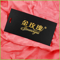 Black paper card stamping gold hangtag for jewelry, hang tag for clothings