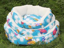 High quality shu velveteen round pet nest fashion wholesale printing three-piece dog kennel