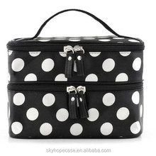 Dongguan Factory Makeup Bag Double Zipper Train Case Handbag Journey Dot Tote