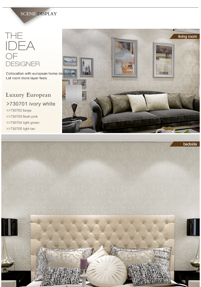 3d decoratieve empaisitc europese stijl damascus non- woven behang ...