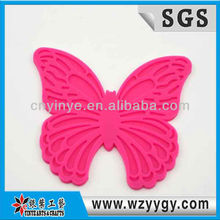 Silicone pink butterfly design cup coaster