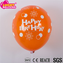 High quality 12inch 3.2g birthday polka dots & circles printed latex balloon, rubber balloon
