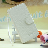 Wholesale Hot Sale Lychee Grain Wallet Pouch Flip Leather Cover Case for BlackBerry 9620