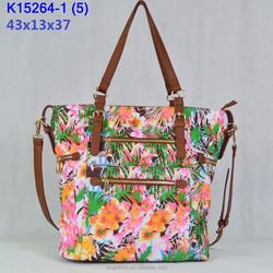 2015 new trendy style printing fabric handbag match pu leather