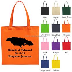 2016 cotton canvas shopping bag orange color plain canvas cosmetic bag