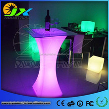 RGB rechargeable led table light PE material plastic furniture/Led Cocktail Table/lounge light batteries
