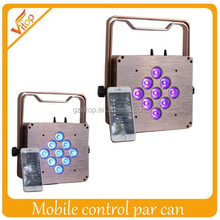 With Mobile Phone Control RGBWA+UV LED Flat Par Unplugged Remote Control thin dj light