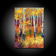 High Quality Abstract Landscape Abstract Gold Forest Oil Painting On Canvas Abstract Golden Trees Oils Painting For Wall Decor