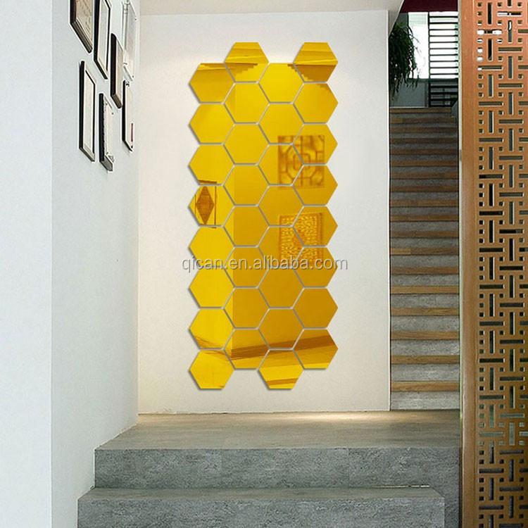 7 개 육각 아크릴 거울 벽 스티커 DIY 예술 벽 장식 벽 스티커 홈 ...