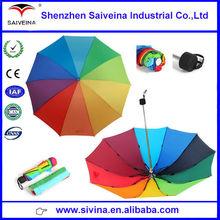 Shenzhen factory supply 3 folding rainbow umbrella special multi-colored rainbow folding umbrella