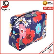 Dark blue flower full printing Purse Bag Travel Train Case Cosmeitc makeup bag