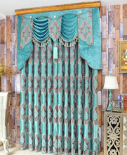 The bright blue European thickened chenille jacquard curtains living room curtain