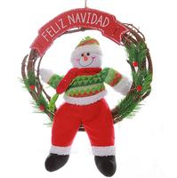 Woody vine circle Santa Claus and snowman deer Christmas decoration
