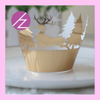 cheap christmas ornaments! laser cut christmas tree and lovely deer Christmas cupcake wrappers china wholesaler and producer