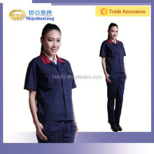 hot sale double used collar work clothes with short sleeve