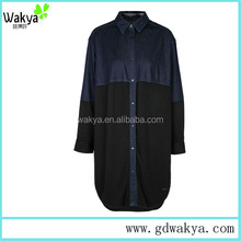 Wholesale prices OEM design denim lady casual blouse from manufacturer