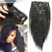 Sunny Queen 6A Grade 100% unprocessed Brazilian Virgin Hair Natural Black Kinky Straight clip in hair extension for black women