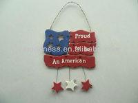 GOOD SALE 10-3/4''H National Flag w/Hanging Stars Plaque