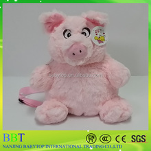 soft pink pig plush backpack, pet kids backpack