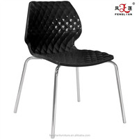 Black bright color water cube plastic chair metal frame chair dining chair without arms