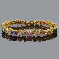 Wholesaler Jewelry Yellow Gold GP Sapphire Topaz multi colored Tennis Bracelet