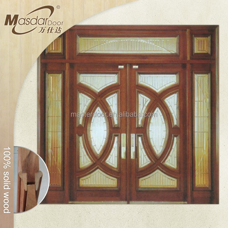 Hand carved wood frame sliding glass exterior doors buy for Glass door with wooden frame
