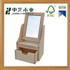 Promotional gifts wood house unpainted small wooden dresser toy with mirror