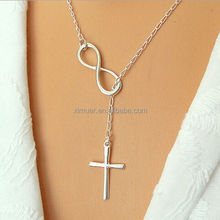 Simple elegant metal cross with infinity pendant