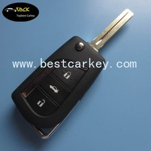 New style auto blank key for toyota 3 button remote flip key shell toyota key case TOY43 keyway