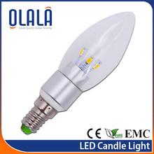 2013 durable warm white 3w led lamp candle e14