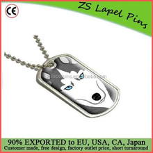 Siberian Husky Dog Pet Full Face Military Dog Tag Keychain