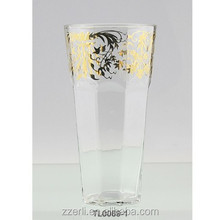 Transparent carved high ball glass/water cup with gold decal