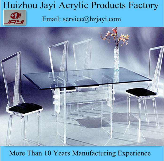 Acrylic Restaurant Round Dining Tables And Chairs Set