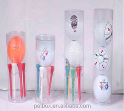PET plastic clear hard golf set packing round tube