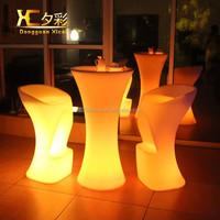 High Quality PE plastic High LED table lighting bar cocktail table nightclub event table