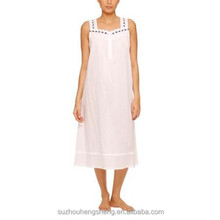 Women's solid woven cotton nightgown