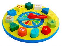 wooden clock educational toys colorful wood clock block set