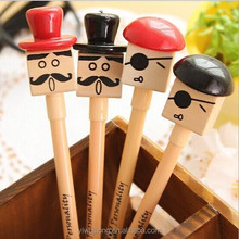 2015 new all kinds of gel pen with wooden gentleman shape for promotion