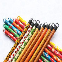 1.2m PVC coated wooden broom and mop handle with plastic cover