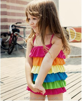 Hot Sale 2015 Girls Bikinis Baby Kids Swimwear Bathing Suits Hot Sellers rainbow colors girls rainbow dress