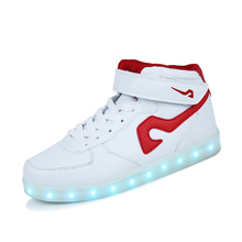 hot sell white high top LED casual shoes sneakers for men women, best quality adults high upper LED light shoes brand from china