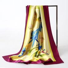 Hand painting charmuse silk muslim square scarf