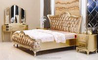 Throne bedroom furniture gold bed/5 star hotel furniture/golden bedroom sets,gold dressing table