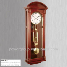 Wooden case wall clocks with gold pendulum Brown color white dial CE/FCC/ISO standrad MW3633
