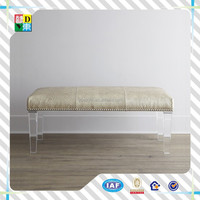 2015 new arrival top design acrylic leg bench made in shenzhen/clear commercial furniture acrylic long soft fabric bench