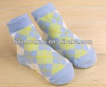 bebé de alta calidad de rombos de algodón peinado calcetines del zapato