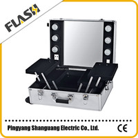Fashion Style Mobile Travel Cosmetic Trolley Case,Aluminum Lighted Makeup Train Case