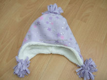 Warmed beanie hat soft knitted hat purple beanie hat with printed star design for baby