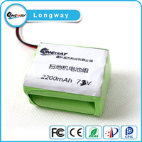 Rechargeable battery pack 18650 2200mah 3.7V li-ion battery with wire and connector